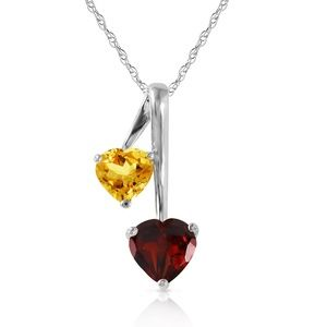 HEARTS NECKLACE WITH NATURAL GARNET & CITRINE